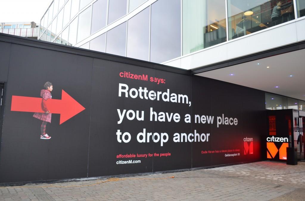 Teksten bij CitizenM Rotterdam: nieuwe aanlegplaats